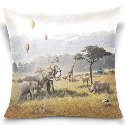 JONINOT Animal Elephant Cheetah Rhino Giraffe Hot Air Balloons Throw Pillow Covers Square Decorative Pillowcase Cushion Cover 18'x18'