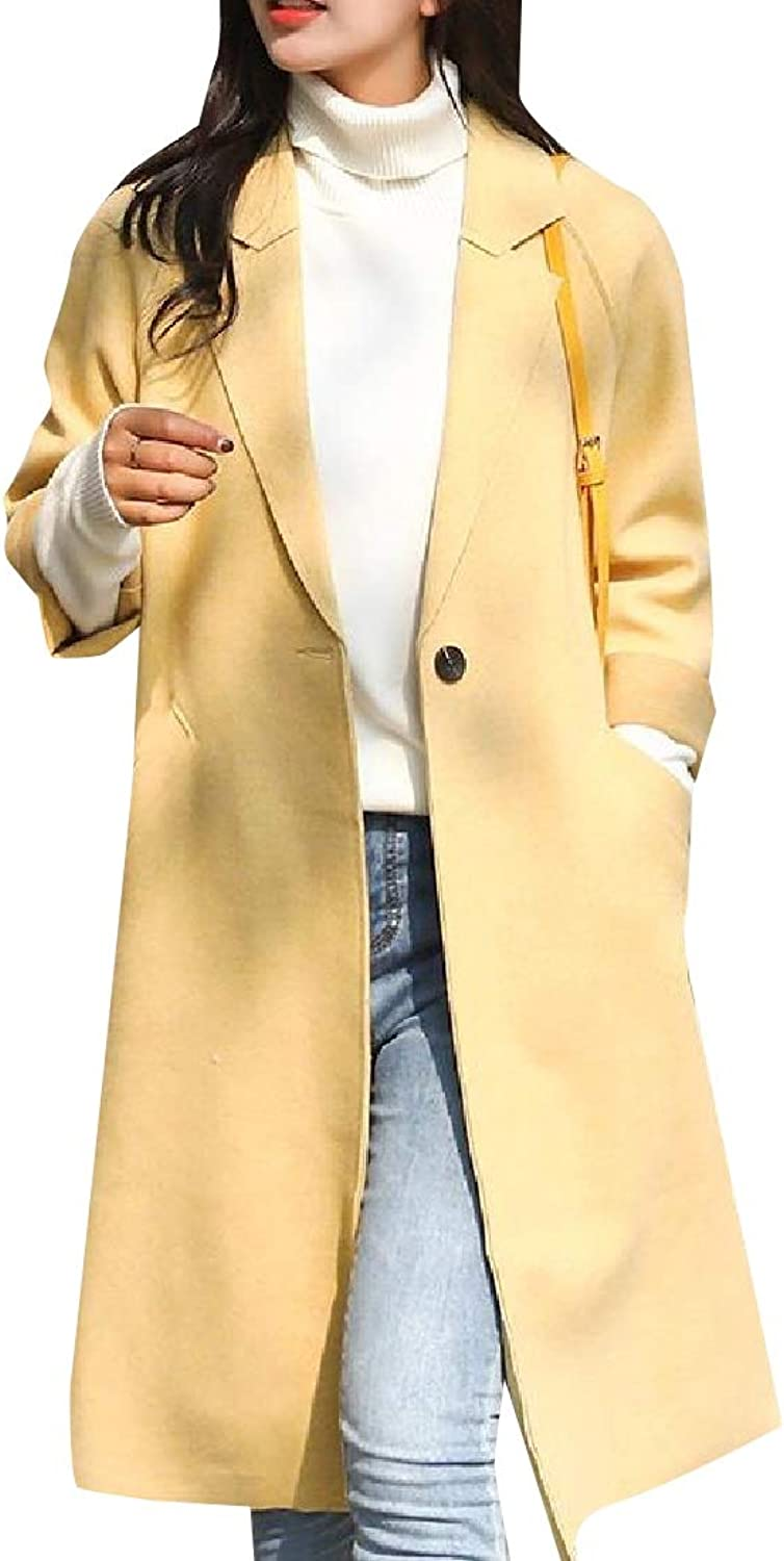 Baseby Womens Notch Lapel Pure Colour Trench Coat Regular Parka Outwear