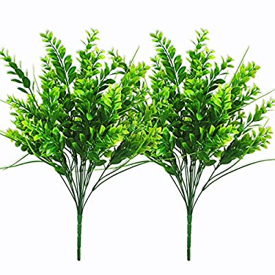 "Artificial Plants 21.7"" Boxwood Stems Faux Plant Shrubs Fake Outdoor UV Resistant Flower Simulation Greenery for Home Garden Office Patio Wedding Indoor Outside Decor (21.7"" Large Boxwood Stems)"