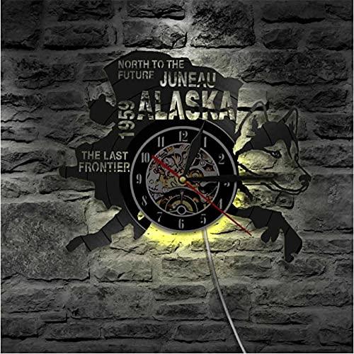 LWXJK The Last Frontier Alaska Decor USA Cityscape Reloj de Disco de...