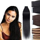 Rich Choices Tape Extensions Echthaar 10 Stück 25G - 50cm pro Paket Remy Haarverlängerungen Echthaar Tape In #1 Tiefschwarz