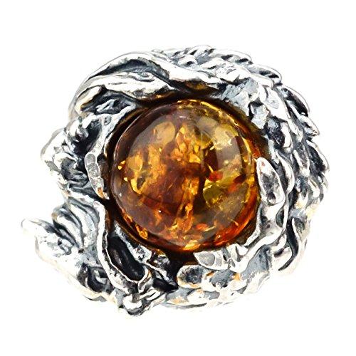 ジナブリング (JINA BRING) シルバーピアス シルバー925 琥珀 ドラゴンが巻き付く 龍 アンバー 天然石 パワーストーン ピアス 片耳販売 メンズ レディース