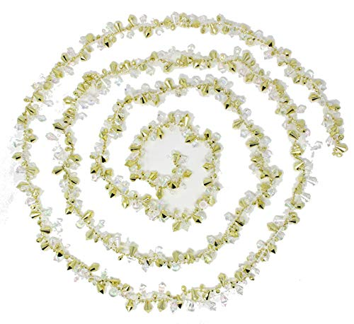 Kurt Adler Christmas Garland | Beaded Silver and Iridescent Garland for Christmas Tree (Gold Two Pack)