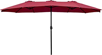 Tangkula 15 Ft Patio Umbrella Double-Sided Steel Outdoor Market Table Umbrella with Crank (Wine Red)