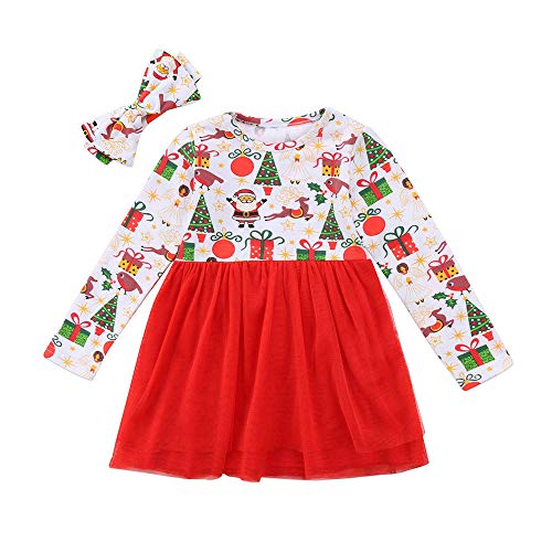 BaZhaHei Robe Bébé Fille Hiver Noël Cartoon Santa Christmas Xmas Rayé Paillettes Blings Gaze à Volants Tutu Patchwork Robe Jupe Filet 6 Mois- 4 5 6 Ans(5-6 Ans,Blanc)