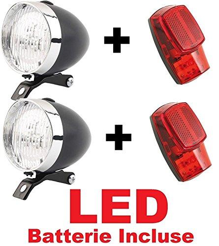 2 x KIT Fanale NERO Luce Anteriore + 2 x Fanale Posteriore al parafango LED bicicletta Olanda - R -...