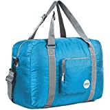 Wandf Foldable Travel Duffel Bag Luggage Sports Gym Water Resistant Nylon, Blue