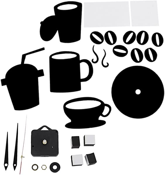 Yevison DIY Modern Home Decor Coffee Cup Kitchen Wall Clocks Silent Watch Decals Black Durable And Useful