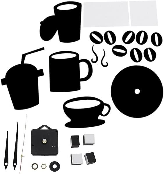 Yevison DIY 现代家居装饰咖啡杯厨房挂钟静音手表贴花黑色耐用实用