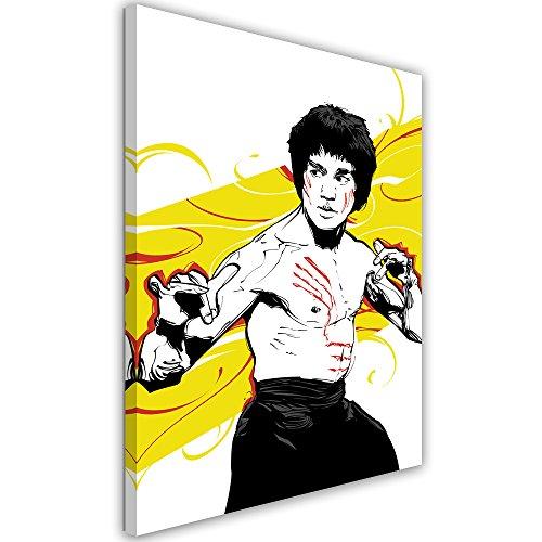 Feeby. Cuadro en Lienzo - 1 Parte - 70x100 cm, Imagen impresión Pintura decoración Cuadros de una Pieza,Bruce Lee 4 - Nikita Abakumov, PELÍCULA, Amarillo, Luchador