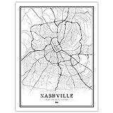 YUAN Leinwand Bild,Amerika Usa Nashville Stadt Karte
