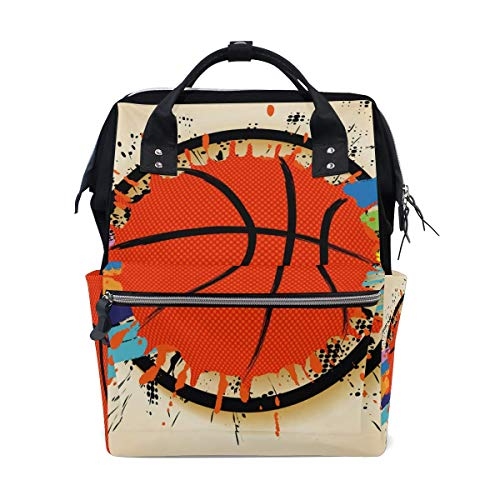 RN Leuke Trendy Basketbal Poster Reizen Rugzak Grote Capaciteit Schouder Luiertas voor Womens Mens