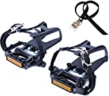 NEWSTY Bike Pedals with Clips and Straps for Outdoor Cycling and Indoor Stationary Bike 9/16-Inch Spindle Resin/Alloy Bicycle Pedals Black