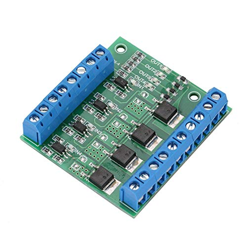 Nikou PLC Versterker Circuit Board, PWM 4-kanaals MOS FET Module PLC Versterker Circuit Board Driver Module 3-20V naar 3.7-27VDC 10A