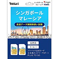 [SingTel](7日間) シンガポール マレーシア 4G-LTE データ容量無制限高速データ通信 使い放題 プリペイドSIMカード PLUG TO GO キャリア:シンガポールSingTel マレーシア:Maxis SIMサイズ:3 in 1サイズに対応
