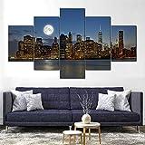 QZWXEC Manhattan Nueva York Luna/Cuadro En Lienzo 5 Piezas Decoración de Pared Sala Estar Dormitorio DecoracióN del Hogar Cuadro Pintura Arte Cartel Pared - Marco - Tamaño(150x80cm)