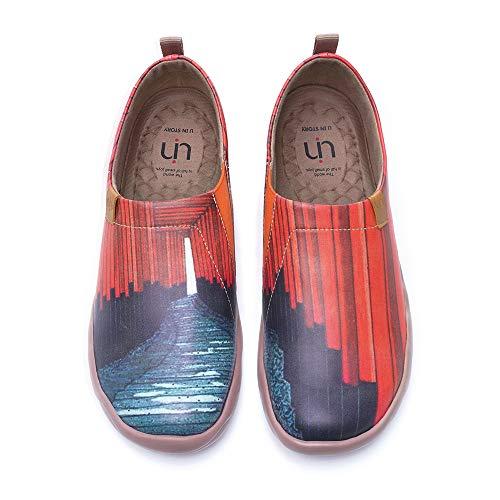 UIN Herren Painted Mikrofaser Leder Slip On Schuhe Lässiger Fashional Sneaker Rot Reiseschuhe Segelschuhe Senbon Torii(40)