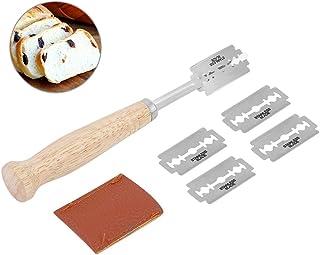 Hecho a mano de la hoja de pan de acero inoxidable de la cocina cuchillo de pan herramienta con 5 cuchillas incluidas para cortar pan queso pastel
