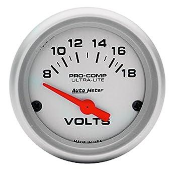 Auto Meter 4391 Ultra-Lite Electric Voltmeter Gauge Regular 2.3125 in.