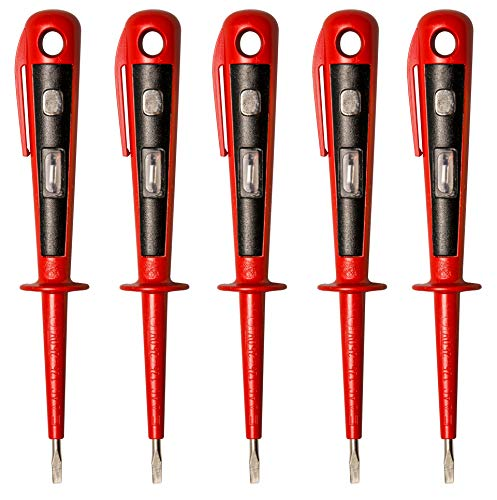 H+H Werkzeug 45400 5 x 45400 Europrüfer/Spannungsprüfer/Phasenprüfer bis 250V GS geprüft nach VDE 0680 Made in Germany, rot/schwarz, 150 mm