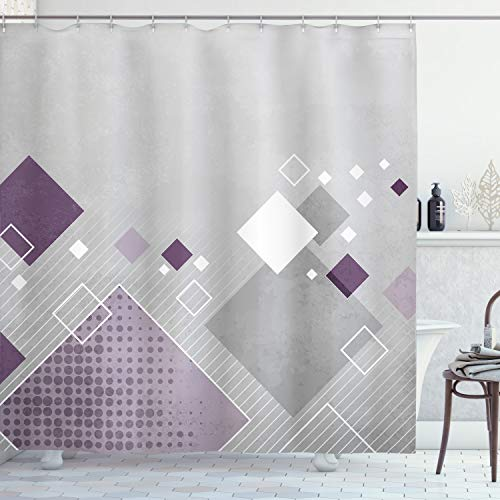 "Ambesonne Abstract Shower Curtain, Geometric Composition with Different Colored Squares Striped Dotted Rhombus, Cloth Fabric Bathroom Decor Set with Hooks, 70"" Long, Grey Purple"