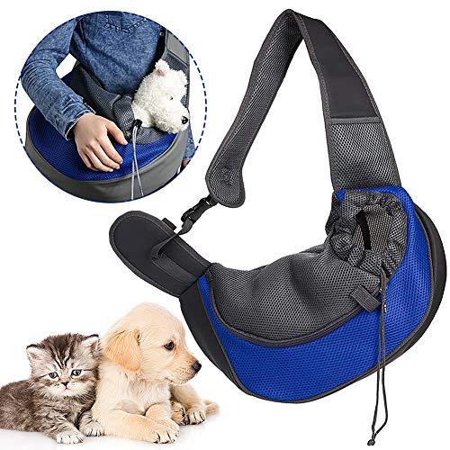CHEPL Portador De Mascotas Sling Hand Bandoleras Portaperros Puppy Bag Carrier con Bolsa De Malla Transpirable para Viajes Al Aire Libre Caminar Metro Everyday