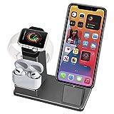 3 in 1 Aluminiumlegierung iPhone Ladeständer für Apple Watch Series 6/5/4/3/2, AirPods Pro und...