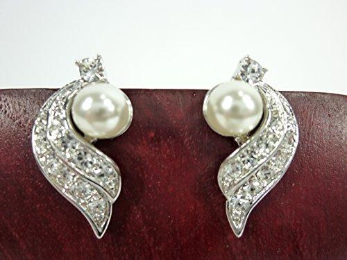 Dapo Leuchten Wunderschöne modische Ohrstecker Blat mit Perle und Kristallsteinchen Modeschmuck Ohrschmuck (Silber- weiß)