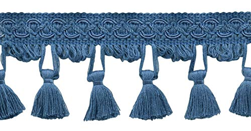 Read About DÉCOPRO 24 Yard Package - 2.5 Inch French Blue Tassel Fringe Trim|Basic Trim Collection|...