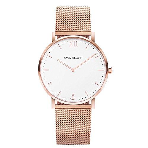 PAUL HEWITT Reloj de Mujer Sailor Line White Sand - Reloj de Mujer (Oro Rosa), Reloj de Pulsera para Mujer de Acero Inoxidable en Oro Rosa, Esfera Blanca