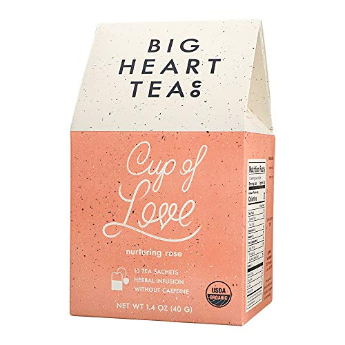 Big Heart Tea - Cup of Love, Small Batch, Herbal Infused, Naturally Sweet, Caffeine-Free, Promotes Natural Healing & Stress Relief, Enjoy Hot or Cold (Nurturing Rose and Tulsi) (10 bags)