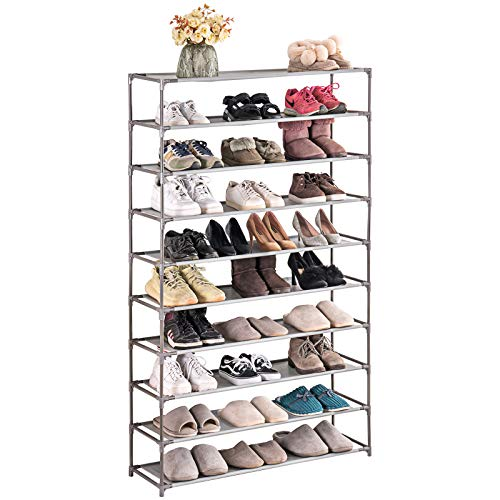 TECHMILLY 10 Tiers Shoe Rack Organizer 50 Pairs, Non-woven Fabric, Space Saving, Stackable and Durable Shoe Storage Shelf (Grey)