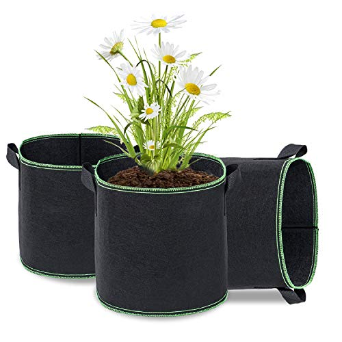 puliao 3 Stück Pflanzbeutel Pflanzsack mit Griffe Pflanze Wachsende Tasche Fliesstoff Pflanzgefäß für Tomaten, Kartoffel, Blumen, Pflanzen Pflanztopf, 5 Gallonen