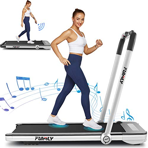 Treadmills for Home,Under Desk Folding Treadmill,2-in-1 Running,Walking & Jogging Portable Running Machine with Bluetooth Speaker & Remote Control,5 Modes & 12 Programs,No Assembly Required (Silver)