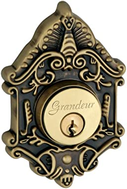 Grandeur Grande Victorian Single Cylinder Deadbolt, Vintage Brass