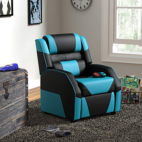 Amazon Basics Kids/Youth Gaming Recliner with Headrest and Back Pillow, 3+ Age Group, Black and Blue