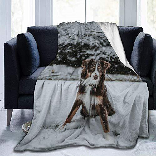 Manta de Microfibra Ultra Suave, Mantas acogedoras con Borde Cosido de Perro Australiano Blanco, Alfombra térmica portátil de Felpa para sofá Cama