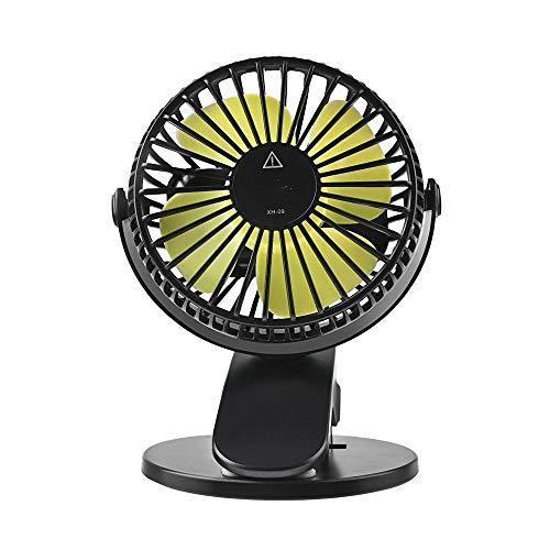 HLVU Standventilatoren Mini 360 Grad drehbaren beweglicher Kleiner Ventilator-Schreibtisch USB-Lade Kleiner Clip Fan für Büro-Gebrauch (Color : Black, Size : One Size)