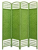 Home Line Biombo Verde de Junco Natural - 4 Paneles