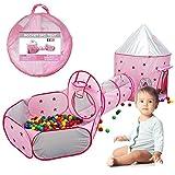 Kindertunnel-Spielzelt - 3-teiliges Set Kinderspielzelt, tragbares, atmungsaktives Pop-up-Spielhaus mit einem Krabbeltunnel für Aufbewahrungstaschen