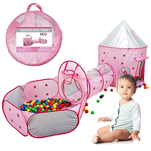 Tienda cápsula espacial para niños de tres piezas, cerca de piscina Ocean Ball, tienda de campaña para interiores, casa de juegos, ventana emergente portátil y transpirable, con bolsa de almacenamien