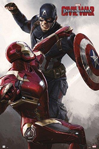 Grupo Erik GPE4985 Poster Captain America Civil War Cap Vs Iron Man, carta, Multicolore, 91 x 61,5 x 0,1 cm
