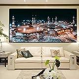 tzxdbh Pintura Decorativa Arte de la Pared Lienzo Pintura al óleo Meca islámica hacia el Cartel Mural para el Pasillo del Hotel Sala de Estar decoración del hogar 50x70cmxcps sin Marco