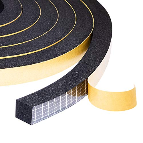 """Yotache Self Adhesive Foam Gasket Tape 2 Rolls 1/2"""" W X 1/2"""" T for Doors Soundproofing Weather Seal Strip Insulation, 13 Ft Length (2 X 6.5 Ft Each)"""