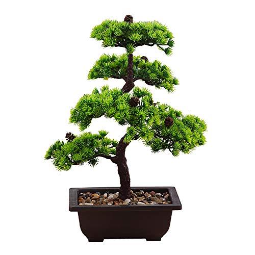 japanische deko Künstliche Bonsai Baum Pflanze für Dekoration Wohnung Schlafzimmer Hochzeit Einschulung Geburtstag, 40cm (Grün), Green