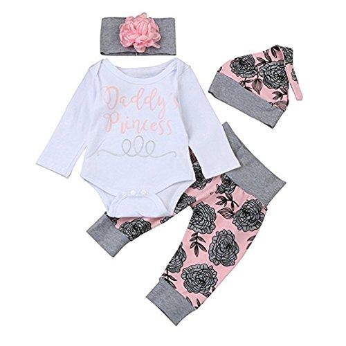 chicolife Baby Mädchen Blumen Outfit Set Buchstaben gedruckt Papas Prinzessin Langarm-Strampler mit Blume Stirnband Hut 4Pcs,6-12Month