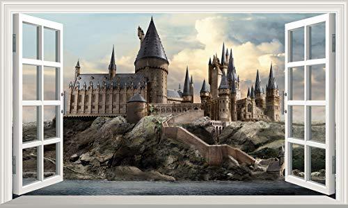Chicbanners Harry Potter Hogwarts Castle 3D Magic Window V599 Wandtattoo, selbstklebend, Größe 1000 mm breit x 600 mm tief (groß)