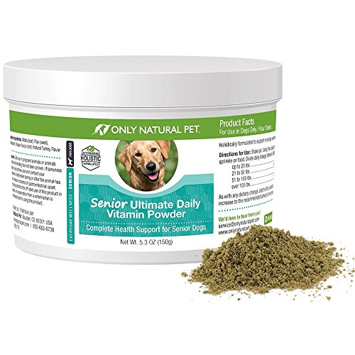 Only Natural Pet Senior Ultimate Daily Canine Vitamin Supplement for Dogs Complete Holistic Health Support - Made in USA, 5.3 oz Turkey Flavored Powder
