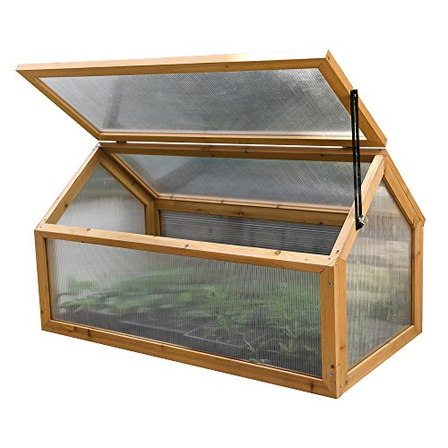 Garden Grow Wooden Outdoor Cold Frame Grow House Polycarbonate Shelter for Garden Vegetables & Plants