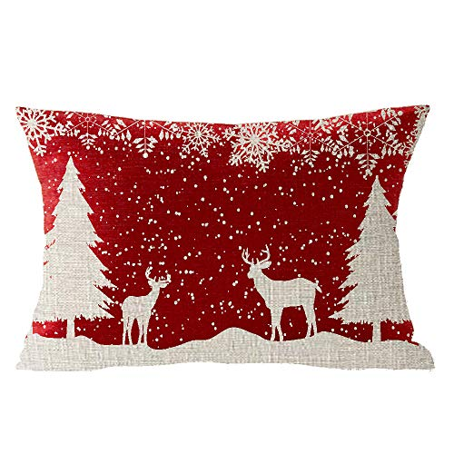 Happy Winter Snowflake Let It Snow Wild Animal Elk Merry Christmas Cotton Linen Square Throw Waist Pillow Case Decorative Cushion Cover Pillowcase Sofa Lumbar 12x20 inches